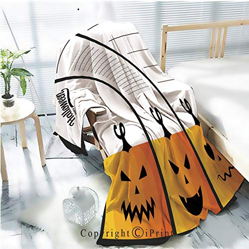 Flannel Printed Blanket for Warm Bedroom,Collection of Halloween Cards Cracked Burning Earth Decorative,One Side Printing,W47.2 x H78.7 -