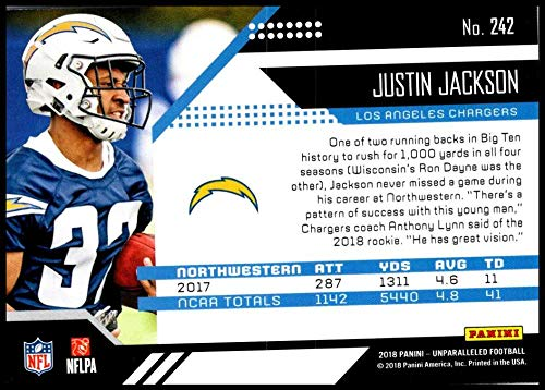 Amazon.com  2018 Unparalleled NFL  242 Justin Jackson RC Rookie Los Angeles  Chargers Rookie Panini Football Trading Card  Collectibles   Fine Art 92599c8ed