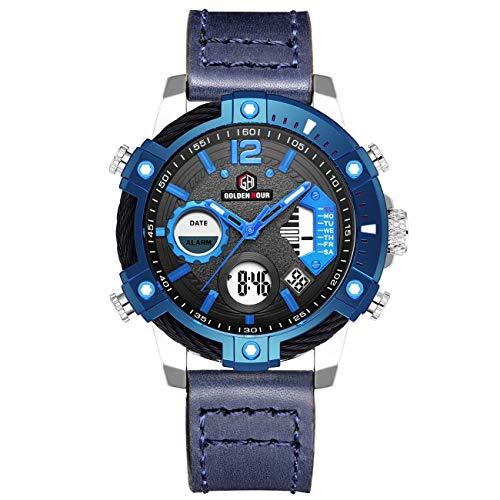 Mens Watch Casual Watch Digital Analog Quartz Waterproof Multifunctional Military Leather Wrist Sport Watch Watches