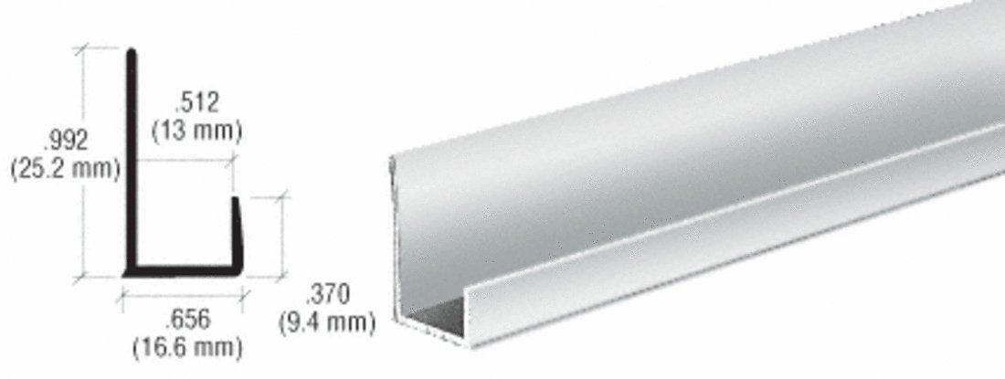 CRL Brite Anodized Aluminum 1/2'' ''J'' Channel - 12 ft long