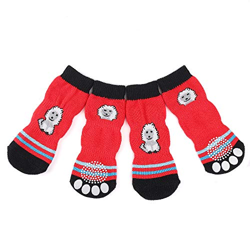 RilexAwhile Dog Socks Non-Slip Pet Cat Socks with Rubber Reinforcement Knit Three Sections Long Socks for Dogs with Traction Soles Small Medium Large Dogs Paw Protector for Indoor Wear, 4PCS (S, Red)