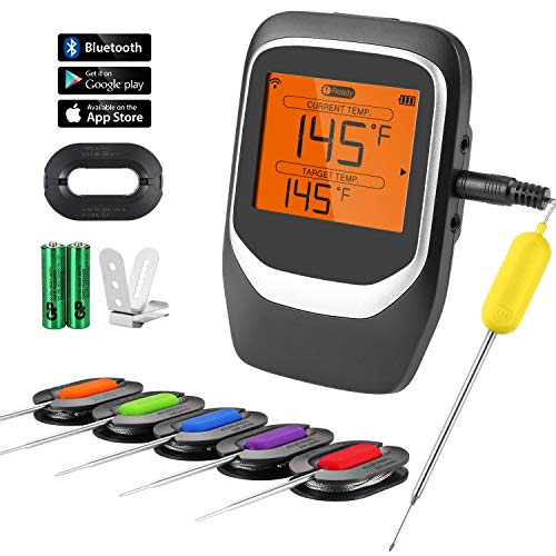 COMLIFE Digital Meat Thermometer, Bluetooth Wireless Remote Thermometer, Smart Grill Thermometer with 6 Probes & Clip, Instant Read Cooking Food Thermometer for Kitchen, BBQ, Grill, Oven, Smoker