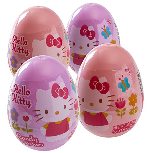 Hello Kitty Surprise Easter Eggs Filled with Hello Kitty Stickers and Candy (4 PACK)