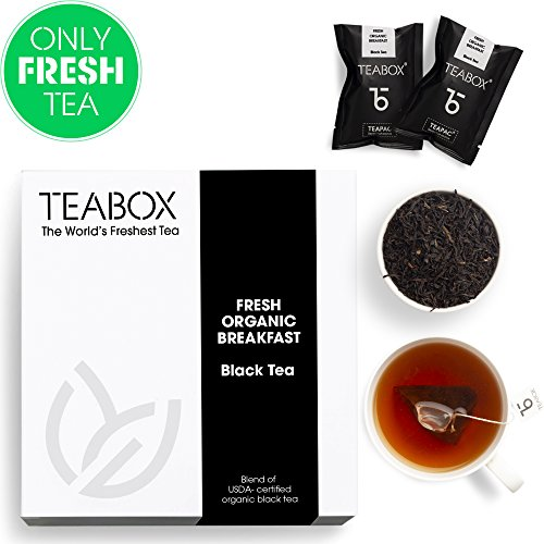 Teabox Fresh Organic Breakfast Black Tea | USDA Certified | Natural Ingredients: Lavender, Spearmint | Box of 16 Tea Bags