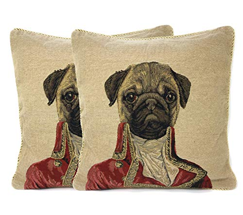 Dog Throw Pillow Cushion Cover - Tache Napoleon Bownparte - 2 Pieces 18 X 18 Inch Square French Vintage Pug ()