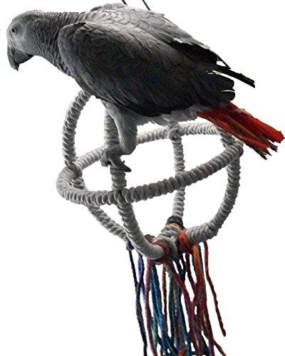 CAS Enterprises Parrot Orbit Swing, 3 Sizes, 3 Colors, 100% Cotton Rope, Stainless Steel Rings and Hardware (Medium, Beige)