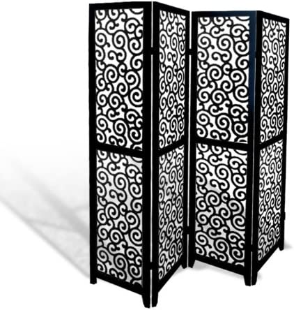 The Furniture Cove Black Wood 4 Panel Screen Ornate Swirl Design Folding Room Divider