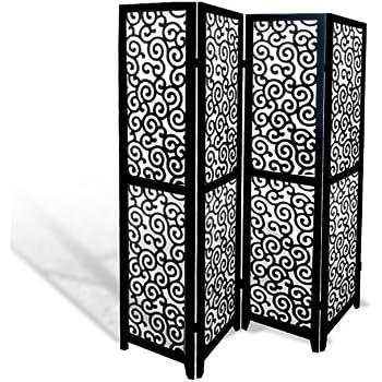 Roundhill Furniture Giyano  Panel Screen Room Divider Black