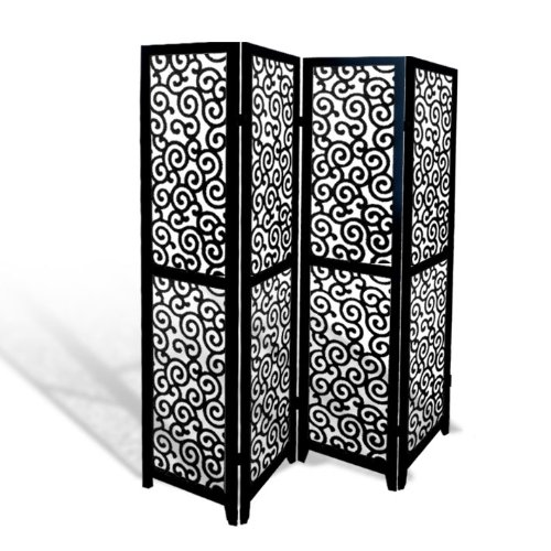 Scroll Room Divider - Black Wood 4 Panel Screen Ornate Swirl Design Folding Room Divider