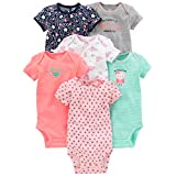 Simple Joys by Carter's Baby Girls 6-Pack Short-Sleeve Bodysuit, Pink/Mint, 18 Months