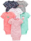 Simple Joys by Carter's Baby Girls 6-Pack Short-Sleeve Bodysuit, Pink/Mint, 24 Months