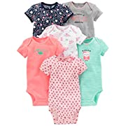 Simple Joys by Carter's Baby Girls 6-Pack Short-Sleeve Bodysuit, Pink/Mint, 0-3 Months