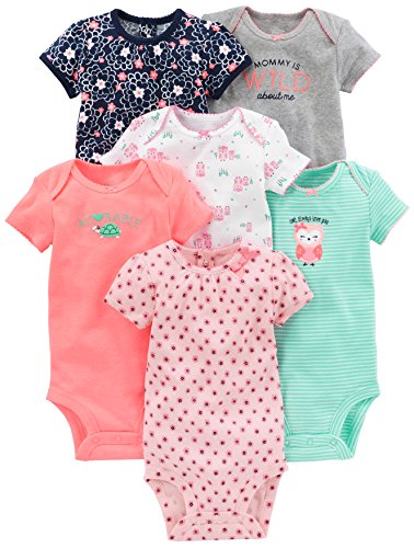 Simple Joys by Carter's Baby Girls 6-Pack Short-Sleeve Bodysuit, Pink/Mint, Newborn]()