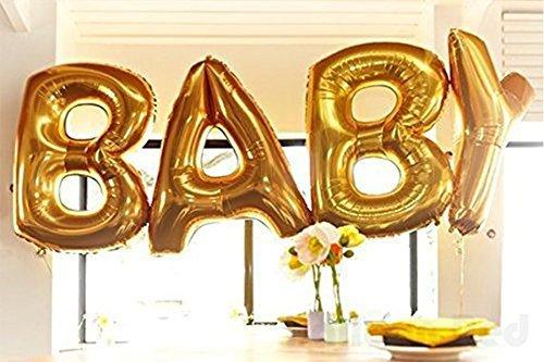 Cute Gold Alphabet Letters Balloons BABY Decoration Aluminum Foil Membrane Ballon (Standard Helium Balloon Kit)