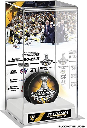 (Sports Memorabilia Pittsburgh Penguins 2017 Stanley Cup Champions Logo Deluxe Puck Display Case - Hockey Puck Free Standing Display Cases)