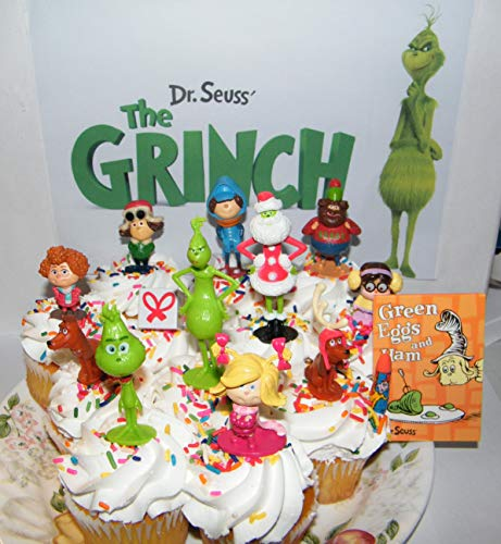 The Grinch Movie Deluxe Cake Toppers Cupcake Decorations Set of 14 with 12 Figures Featuring Classic and New Characters and A Special Notebook and Eraser Gift ()