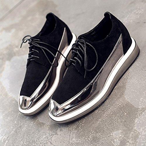 T-juli-dames Moderne Oxfordsschoenen - Comfortabele Suède Casual Schoenen Met Veters En Twee Kleuren Suède Zwart
