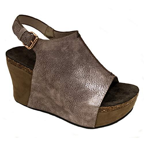 - Pierre Dumas Womens Hester-14 Wedge Sandals (7.5 M US, Rose Gold)