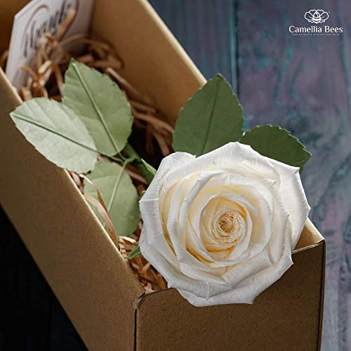 CamelliaBees White Paper Rose in Gift Box Romantic Present for Her Wedding Anniversary Valentine's Day Christmas Mothers Day Birthday, Handmade Paper Rose