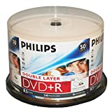 Philips Dr8i8b50p/17 Dvd Recordable Media - Dvd+r Dl - 8x - 8.50 Gb - 50 Pack Spindle - 120mm - Ink