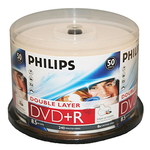 Price comparison product image PHILIPS DVD+R 8.5G INKJET DUAL, LAYER,CAKE BOX, 50PKS, 600/CRN A2