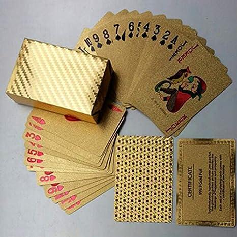 8Eninise Cartas Doradas Impermeables Tarjetas duraderas de ...