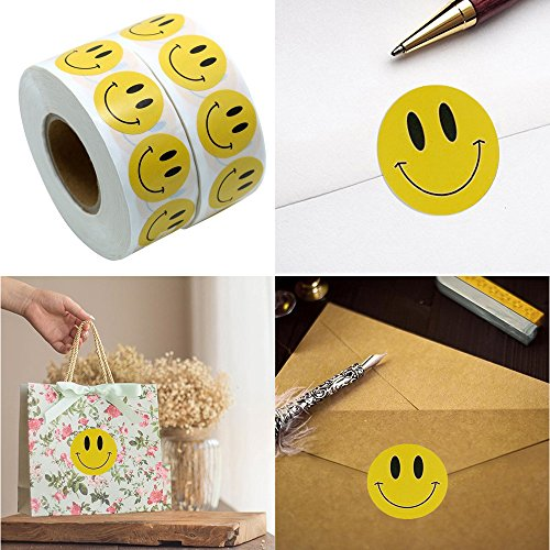 Animals Wool Tapestry - Gotian 1 Roll 100Pcs Natural Kraft Smile Stickers Appreciation Labels Adhesive Sticker