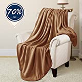 RISAR Flannel Luxury Blanket Soft Warm Cozy Plush Throw Lightweight for Bed Sofa Couch (Throw 50x61, Camel)