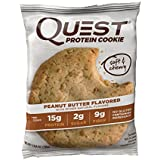 Quest Nutrition Protein Cookie, Peanut Butter, 15g Protein, 5g Net Carbs, 250 Cals, 2.04oz Cookie, 12 Count, High Protein, Low Carb, Gluten Free, Soy Free