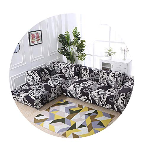 ZFADDS New Elastic Sofa Cover Cotton Covers for L-Shape Corner Sectional Sofa Cover for Living Room,Color 2,1Seater and 1Seater (Sectionals Edmonton)