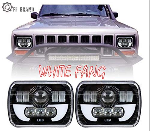 White Fang Jeep LED Headlights w/DRL's FIts Wrangler YJ Cherokee XJ Comanche MJt