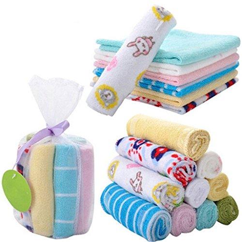 Foreverstore 8Pcs Baby Infant Newborn Bath Towel Washcloth Bathing Feeding Wipe Cloth...
