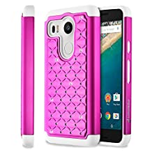 Fosmon (HYBO-SD) Google Nexus 5x Case (Star Diamond) Dual Layer Hybrid Cover for Nexus 5x - Fosmon Retail Packaging (Hot Pink/White)