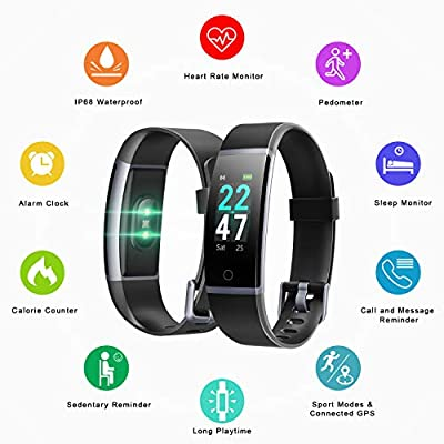 LETSCOM Fitness Tracker with Heart Rate Monitor, Color Screen Activity Tracker Watch, IP68 Waterproof Pedometer Sleep Monitor Step Counter Calorie Counter for Women Men Kids from LETSCOM