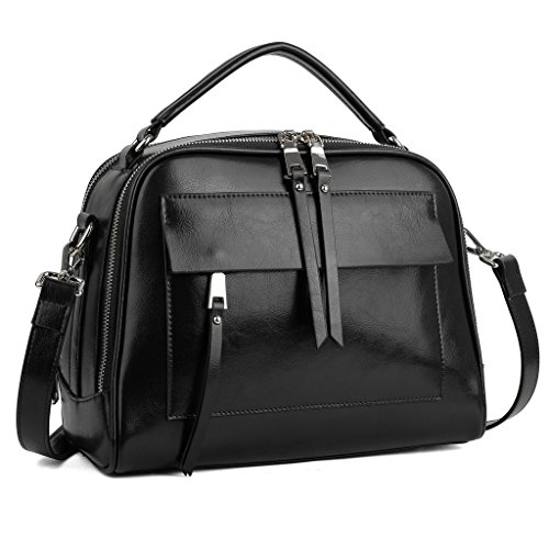 YALUXE Women's Cute Handy Leather Handbag Small Purse Shoulder Bag Black