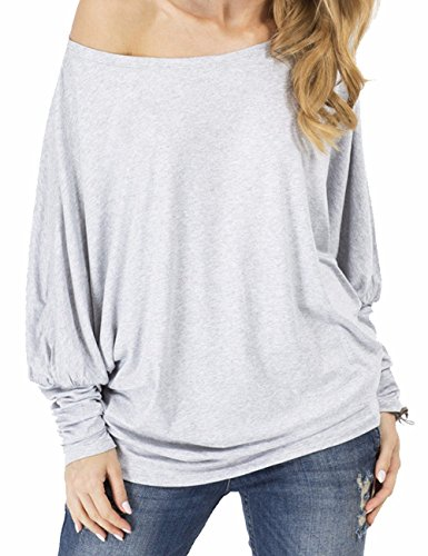 Women's Casual Long Batwing Sleeve Off-Shoulder Drape Jersey T Shirts Tunic Top