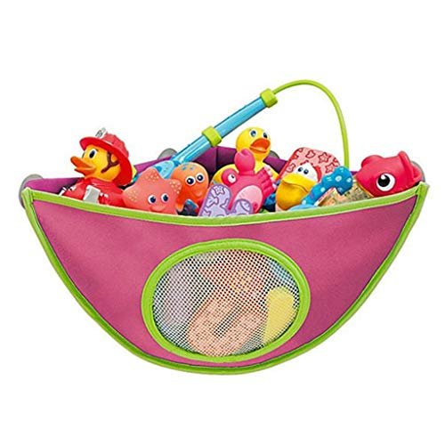 Fine Bath Toy Organizer,New Strong Suction Cups,Bathtub Toys Holder Storage, Corner Shower Storage Bag for Kids and Toddlers for Baby Boys and Girls (Red)