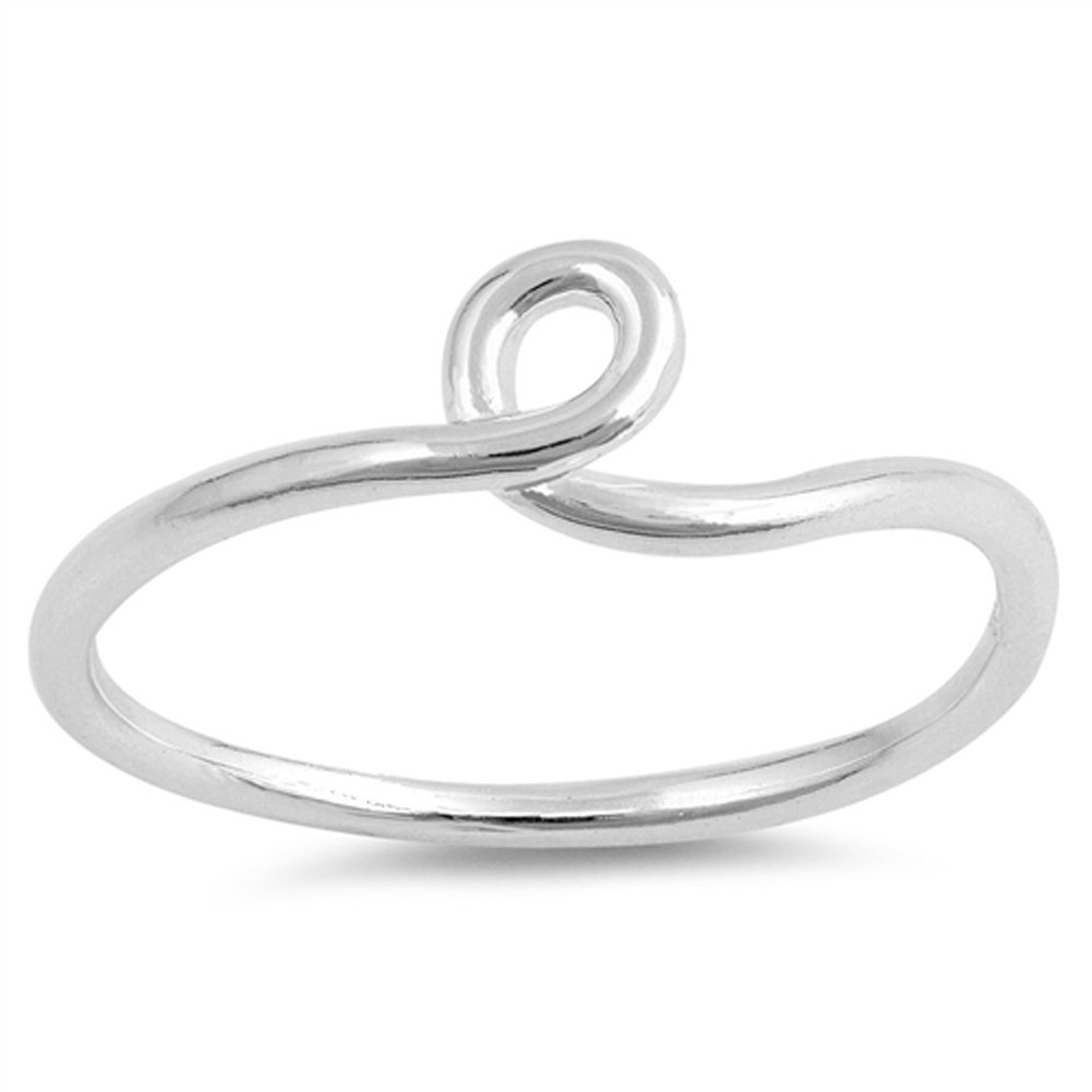 Thin Loop Love Knot Beautiful Promise Ring .925 Sterling Silver Band Sizes 3-10 Sac Silver