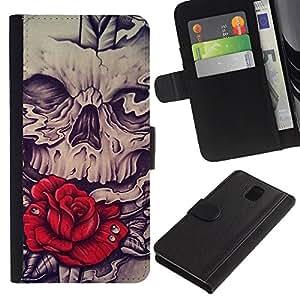 KingStore / Leather Etui en cuir / Samsung Galaxy Note 3 III / Rose Red Skull Vignette Espada Roca