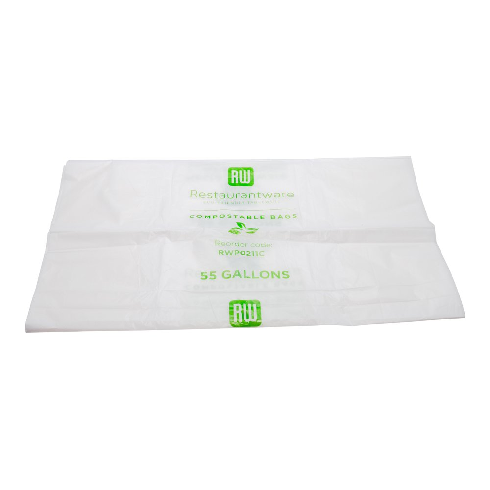 Restaurantware RWP0211C 100 Count 55 gallon RW Can Liners, Large, Clear