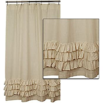 Amazon Com Flax Ruffled Shower Curtain By The Country