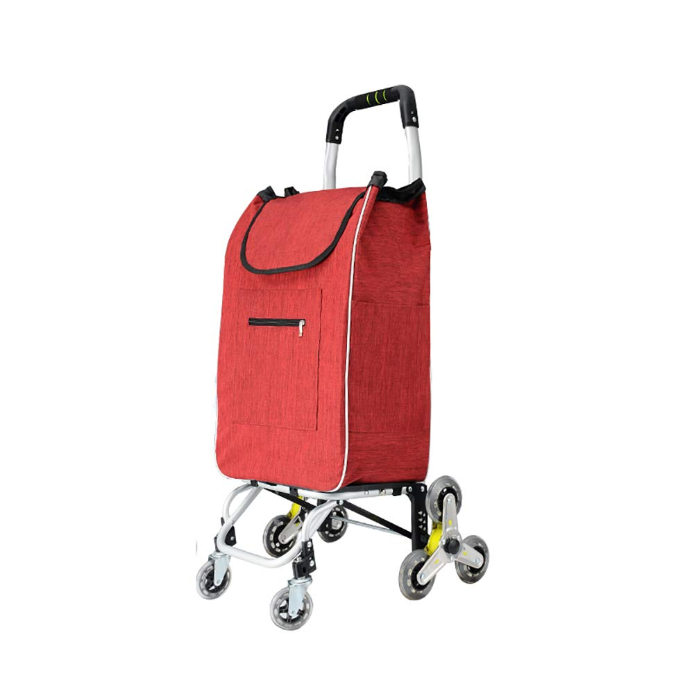 TK® アルミ合金の買物車の折り畳み式は階段プル棒のショッピングトロリーを上がります (色 : Red) B07MVYPXH2 Red