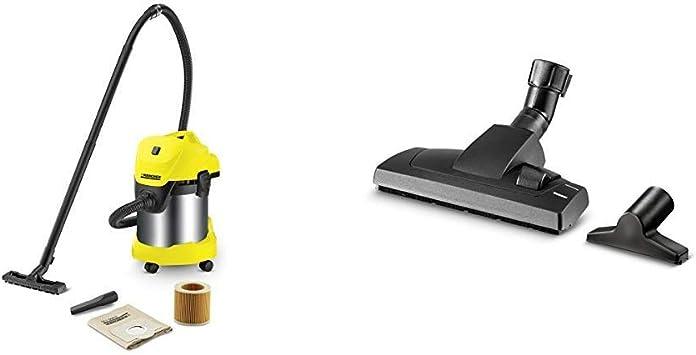 Kärcher WD 3 Premium - Aspirador en seco y húmedo, 1000 W, 17 l con depósito en acero inox + Kärcher Kit para el hogar (2.863-002.0): Amazon.es: Bricolaje y herramientas