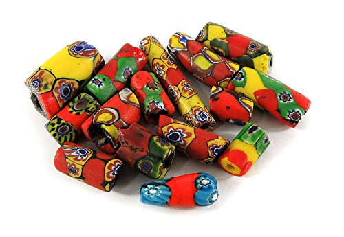Millefiori Trade Beads (15 Millefiori Venetian Trade Beads Yellow Red Africa Loose)