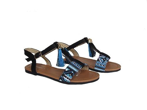 31362db49eb2 Top Durian 17k Little Girls Pretty Flat Summer Aztec Design Gladiator  Sandals Black 1