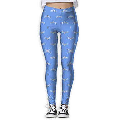 593519f76c0ca4 Amazon.com: Women Stretch Plus Size High Waist Yoga Pants Running Tights -  Dragonfly On Cornflower Fabric (5311) Flower Print: Clothing