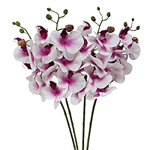 """JAROWN 4pcs 30"""" Phalaenopsis Orchid Artificial Branches Real Touch Latex Flowers for Home Office Wedding Decoration (Purple core) 1"""