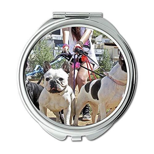 Mirror,Small Mirror,Dog Chihuahua Puppy pitbull dog,pocket mirror,1 X 2X Magnifying