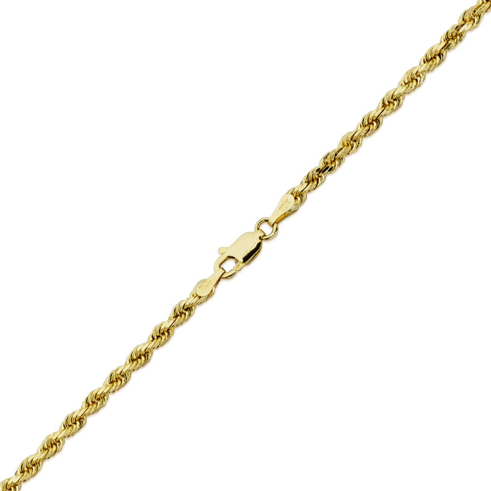 LoveBling 10K Yellow Gold 3mm 22'' Solid Diamond Cut Rope Chain Necklace with Lobster Lock by LOVEBLING (Image #3)