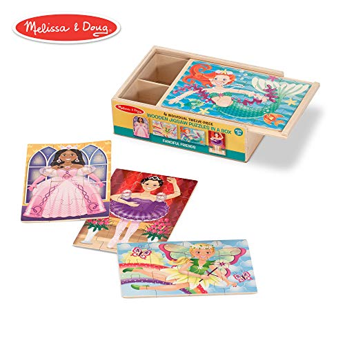 Melissa & Doug Fanciful Friends Wooden Jigsaw Puzzles in a Storage Box (4 puzzles)
